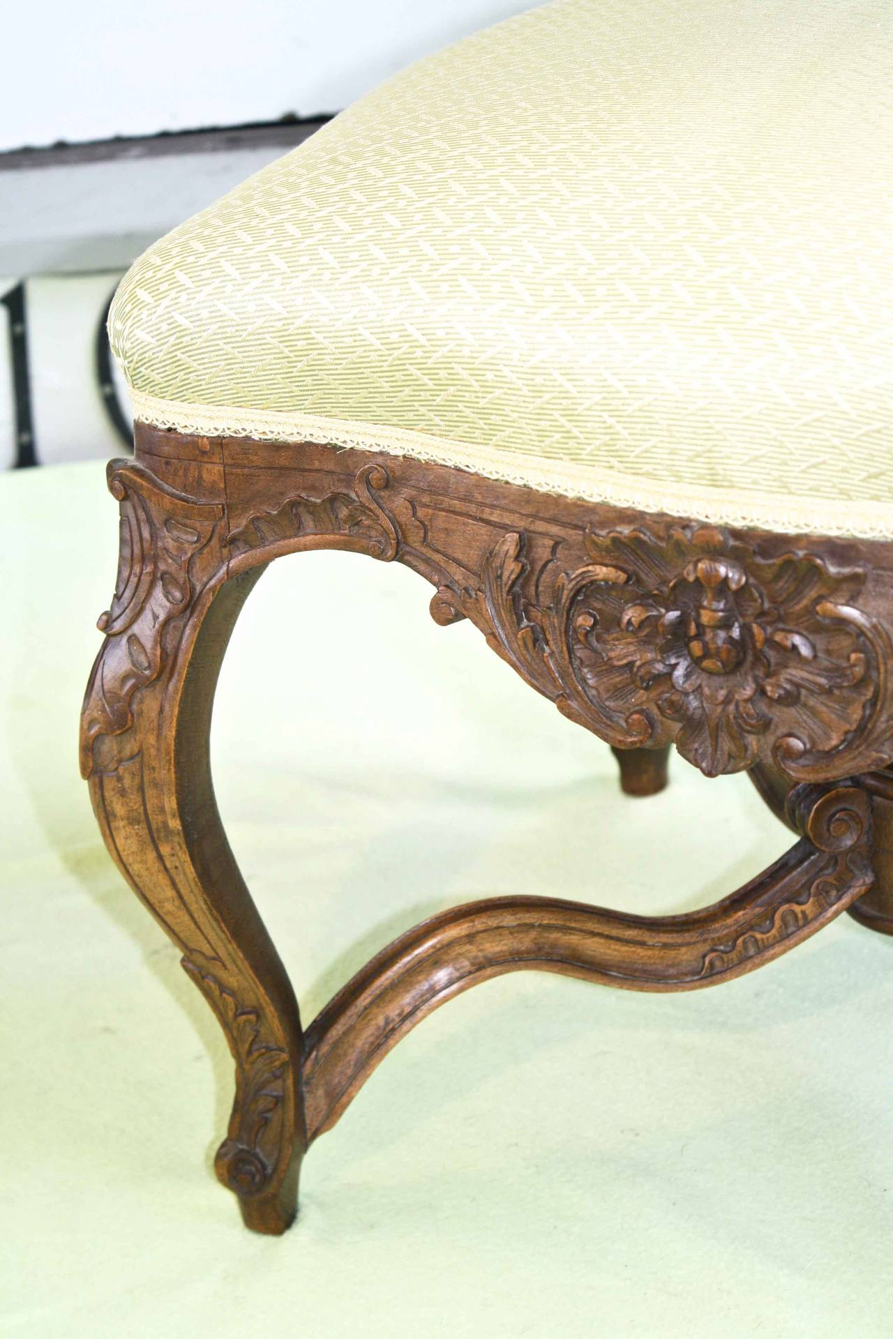 Fruitwood Louis XV Revival Court Tabouret For Sale