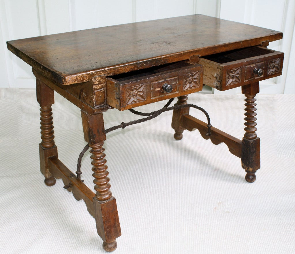 Hand-Carved Spanish Baroque Walnut Table For Sale