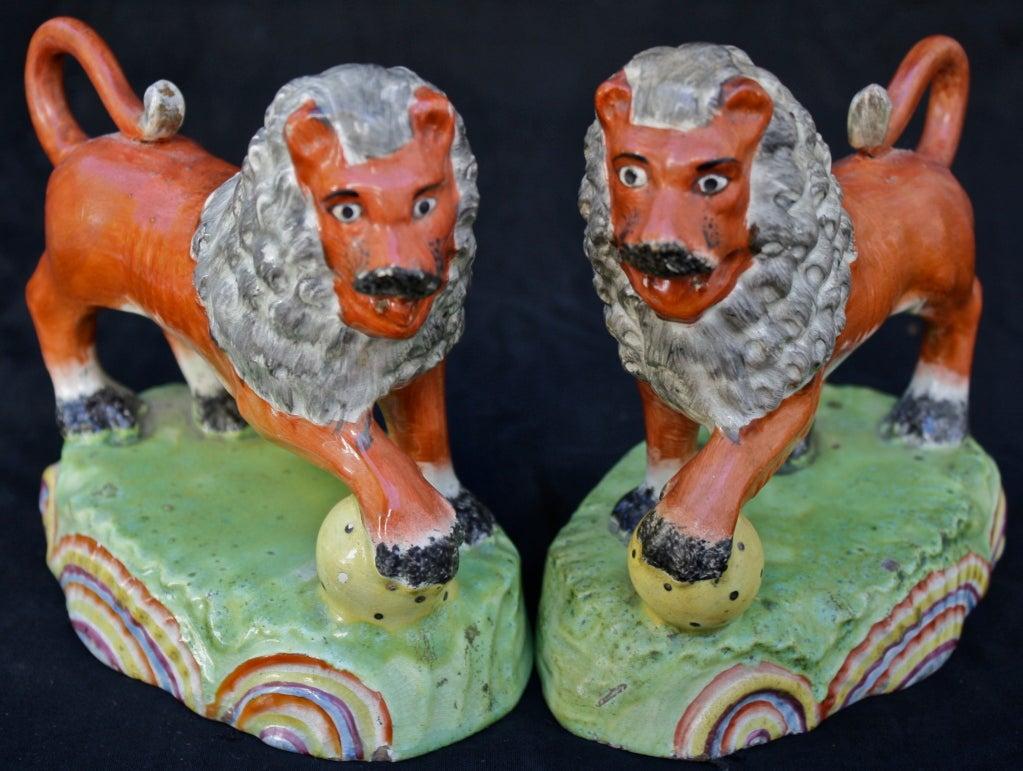 PAIR Obadiah Sherratt Pearlware Lions 2