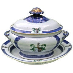 Chinese Export Armorial Tureen on Platter