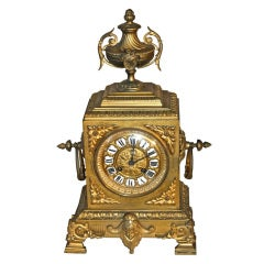 French Second Empire Bronze Dore Mantle Clock