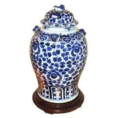 Chinese Export Blue & White Flowered Vine Baluster Jar