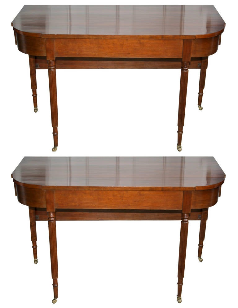 New England Federal Cherrywood Two Part Dining Table OR Pair of Consoles For Sale 4