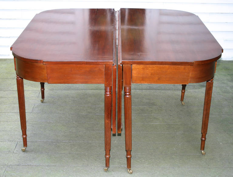 American New England Federal Cherrywood Two Part Dining Table OR Pair of Consoles For Sale