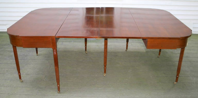 Hand-Carved New England Federal Cherrywood Two Part Dining Table OR Pair of Consoles For Sale