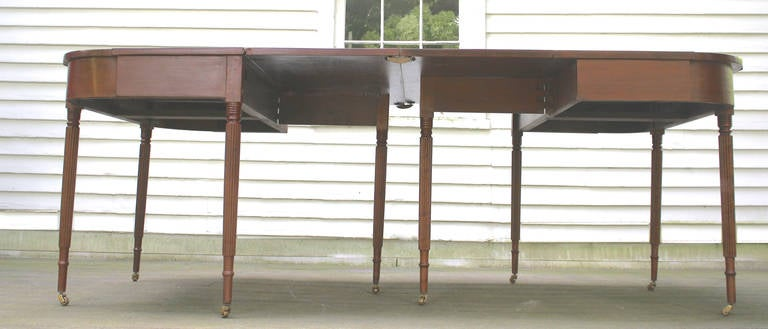 New England Federal Cherrywood Two Part Dining Table OR Pair of Consoles For Sale 3