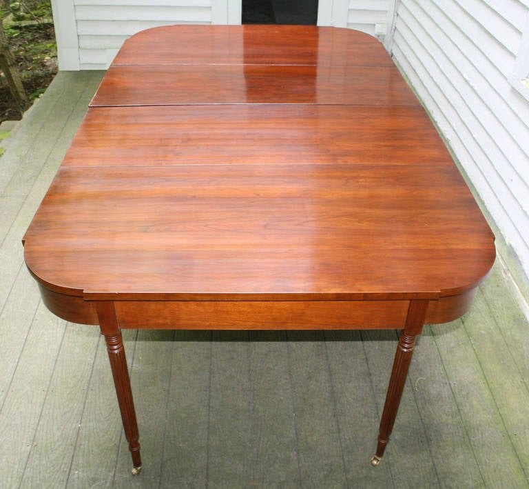 New England Federal Cherrywood Two Part Dining Table OR Pair of Consoles In Distressed Condition For Sale In Woodbury, CT