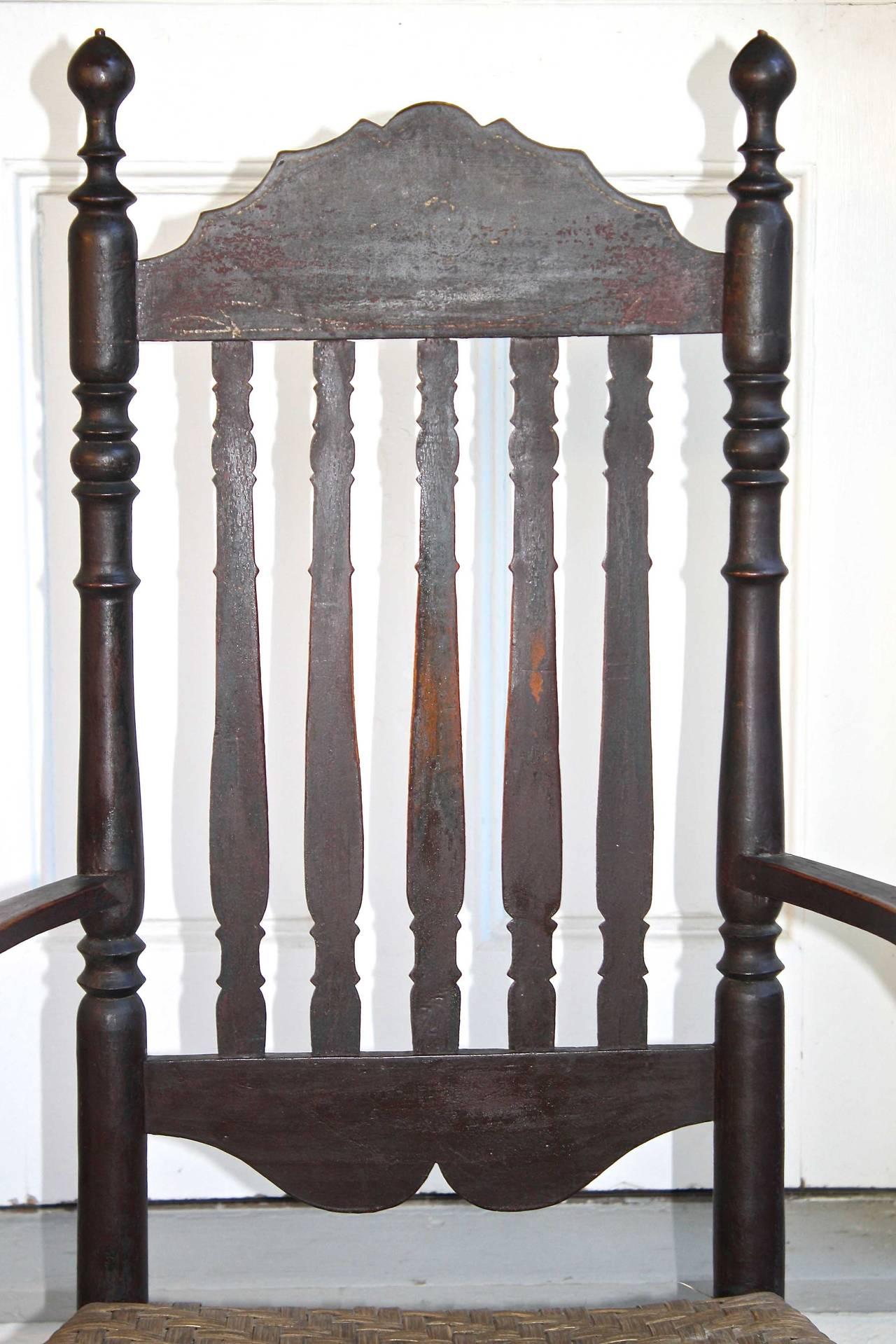 18th Century Massachusetts Bannister Back Armchair For Sale