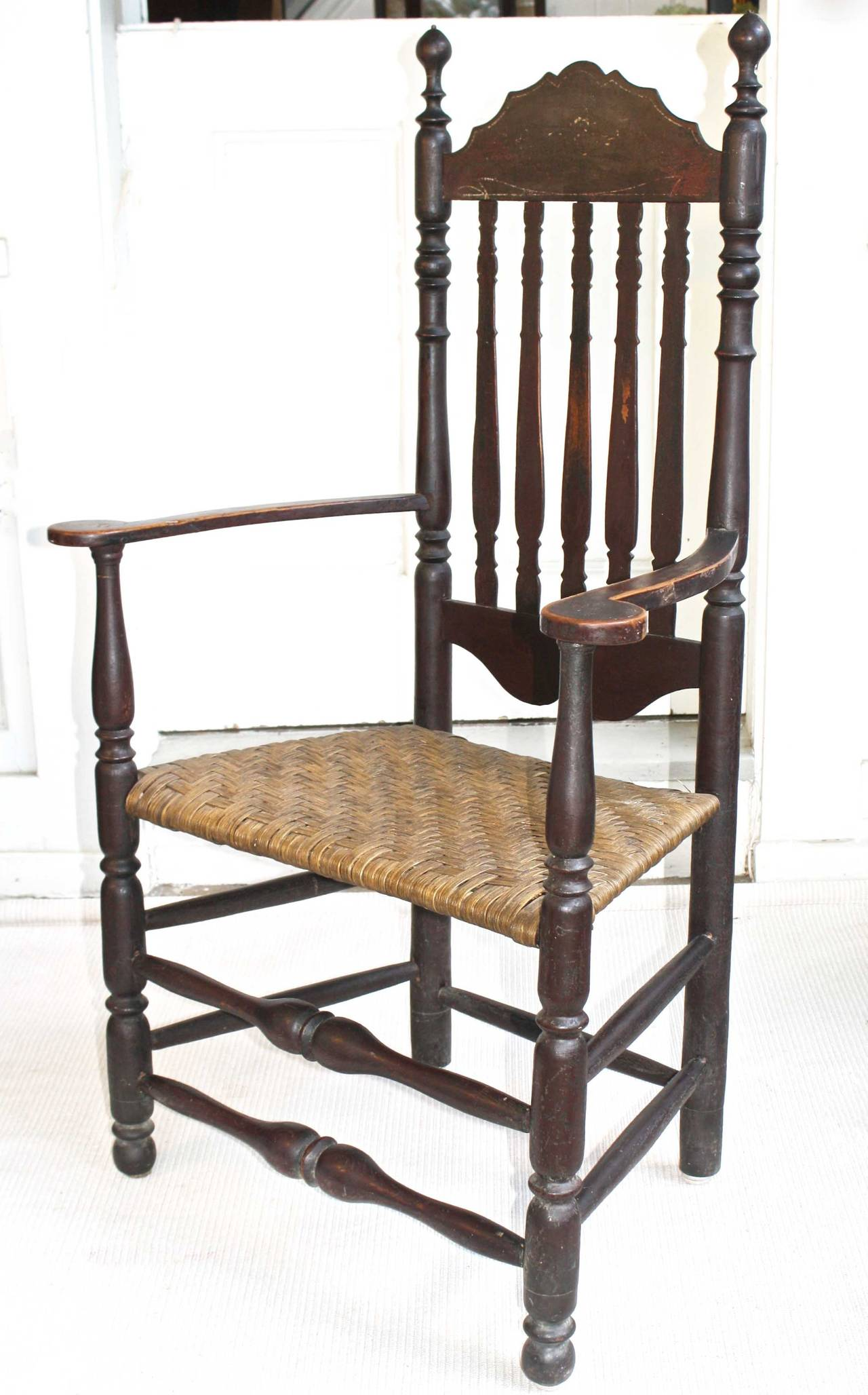 American Colonial Massachusetts Bannister Back Armchair For Sale