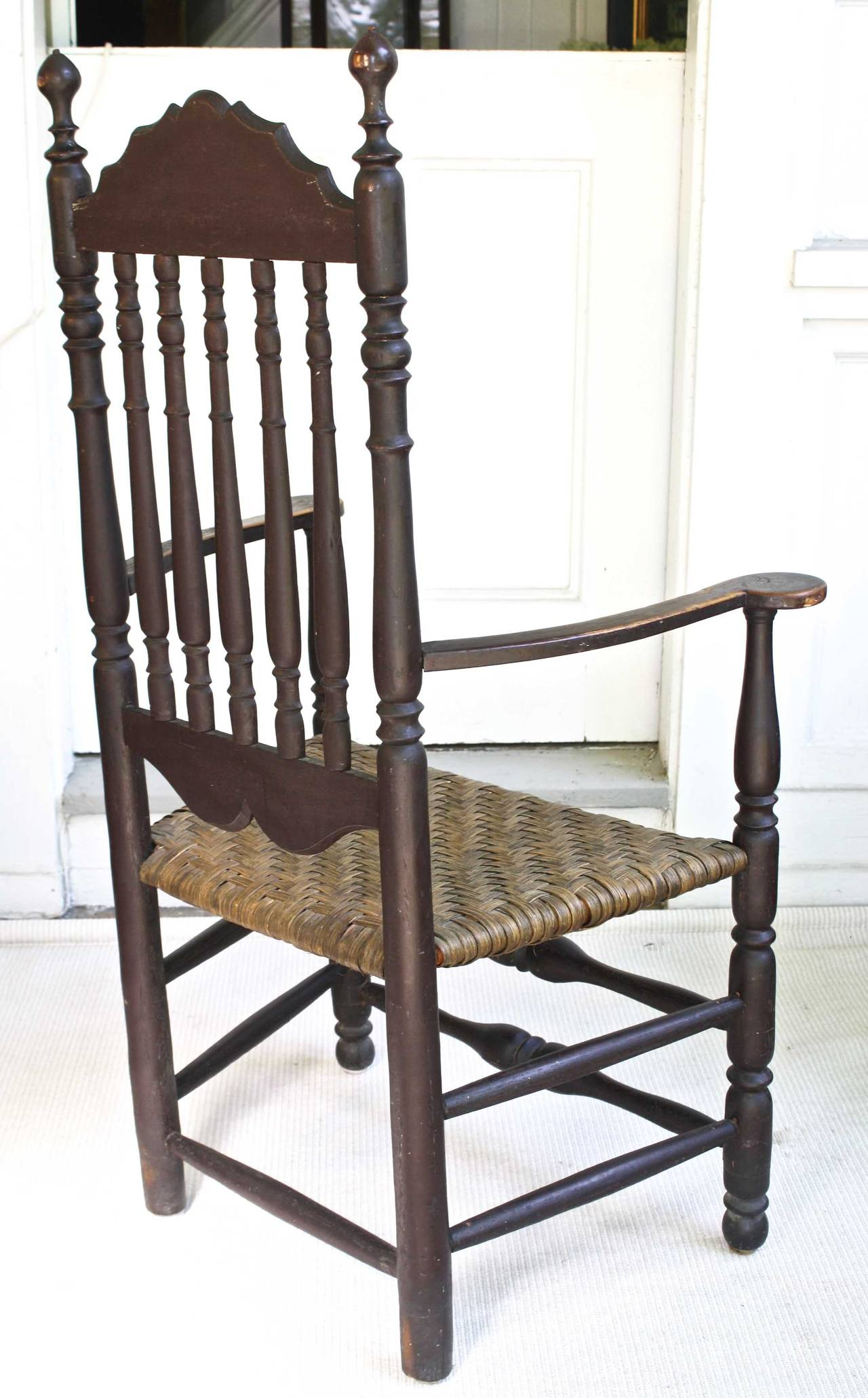 Hand-Carved Massachusetts Bannister Back Armchair For Sale