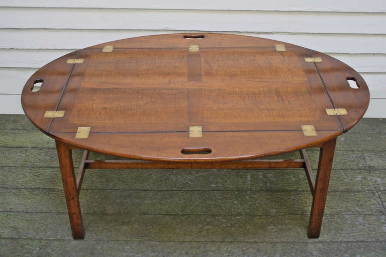Oversized Georgian Fiddle-back Paneled Butler's Tray Table image 2