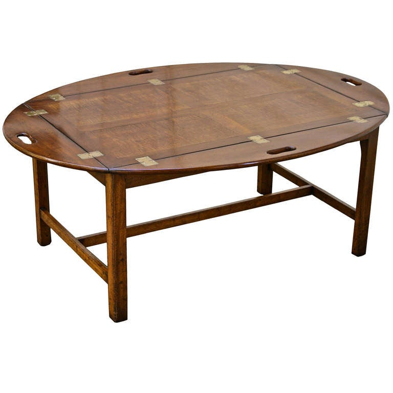 Oversized Georgian Fiddle-back Paneled Butler's Tray Table