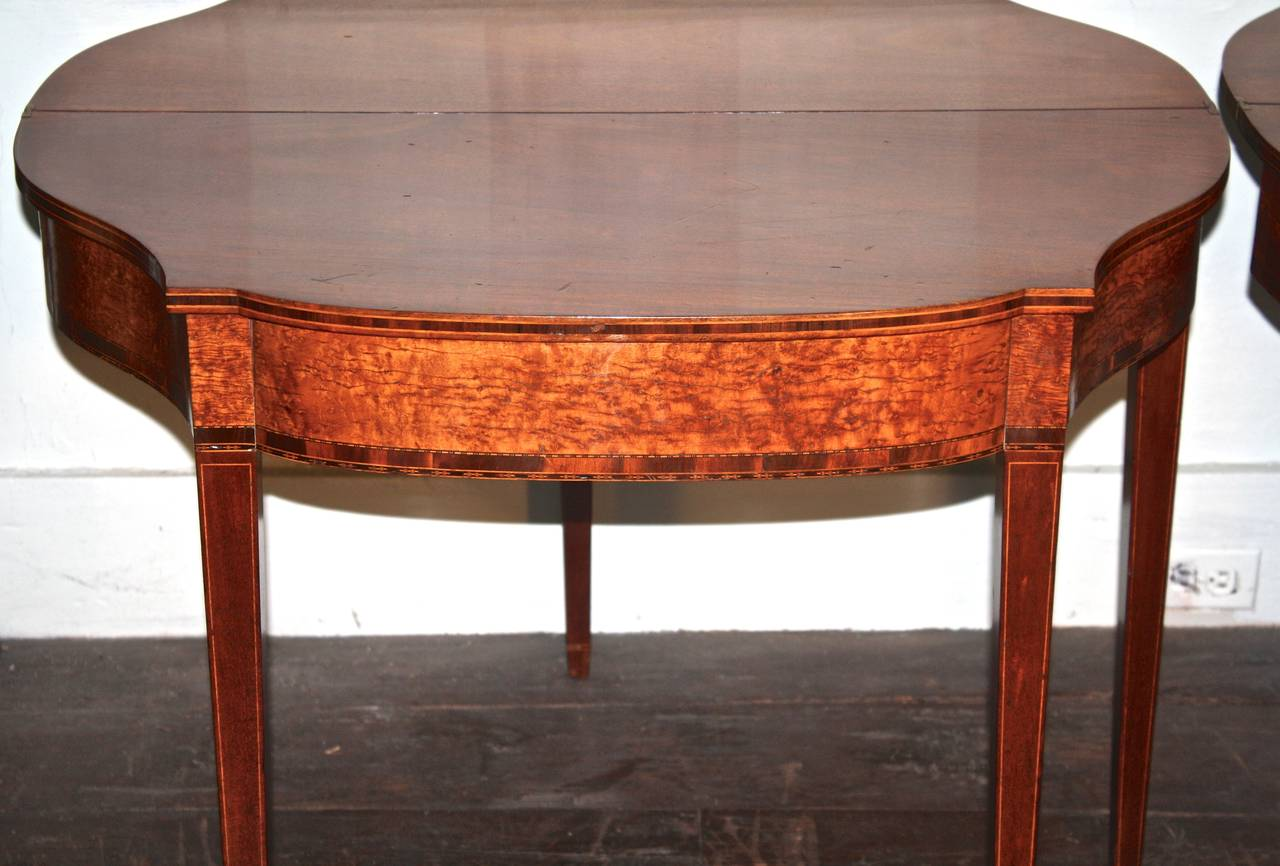 18th Century PAIR Massachusetts Federal Card Tables For Sale
