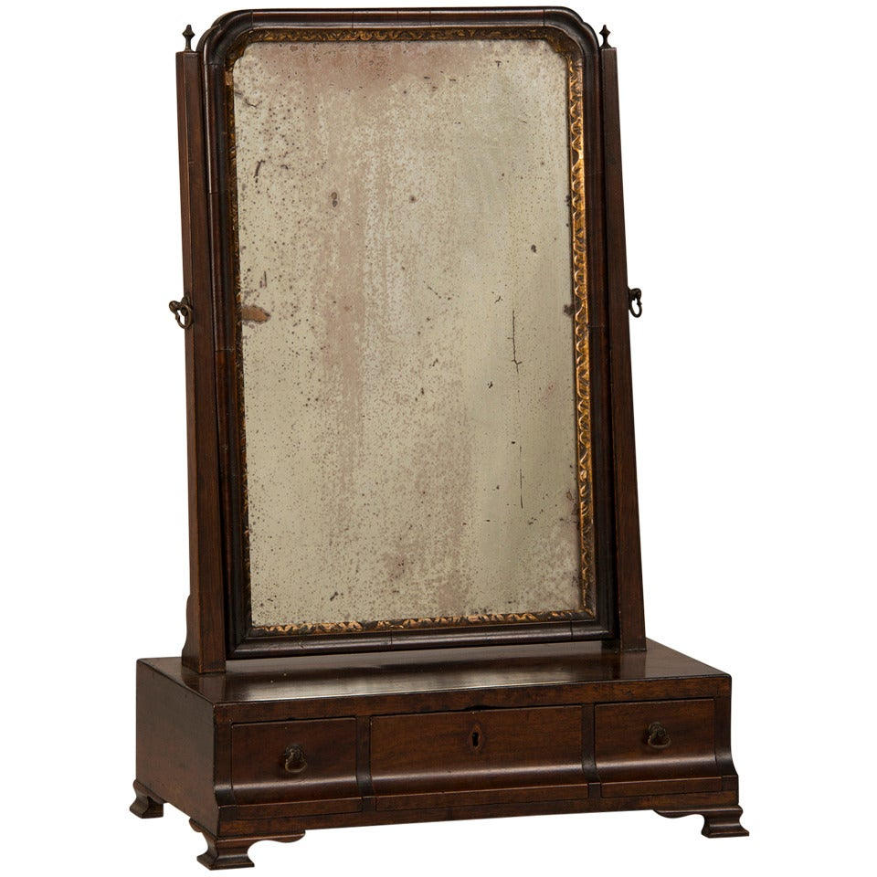 Antique English George Iii Period Mahogany Dressing Mirror