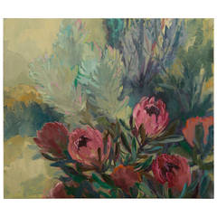 """Dusky Proteas,"" Original Oil on Canvas, Jenny Parsons, South Africa  2012"