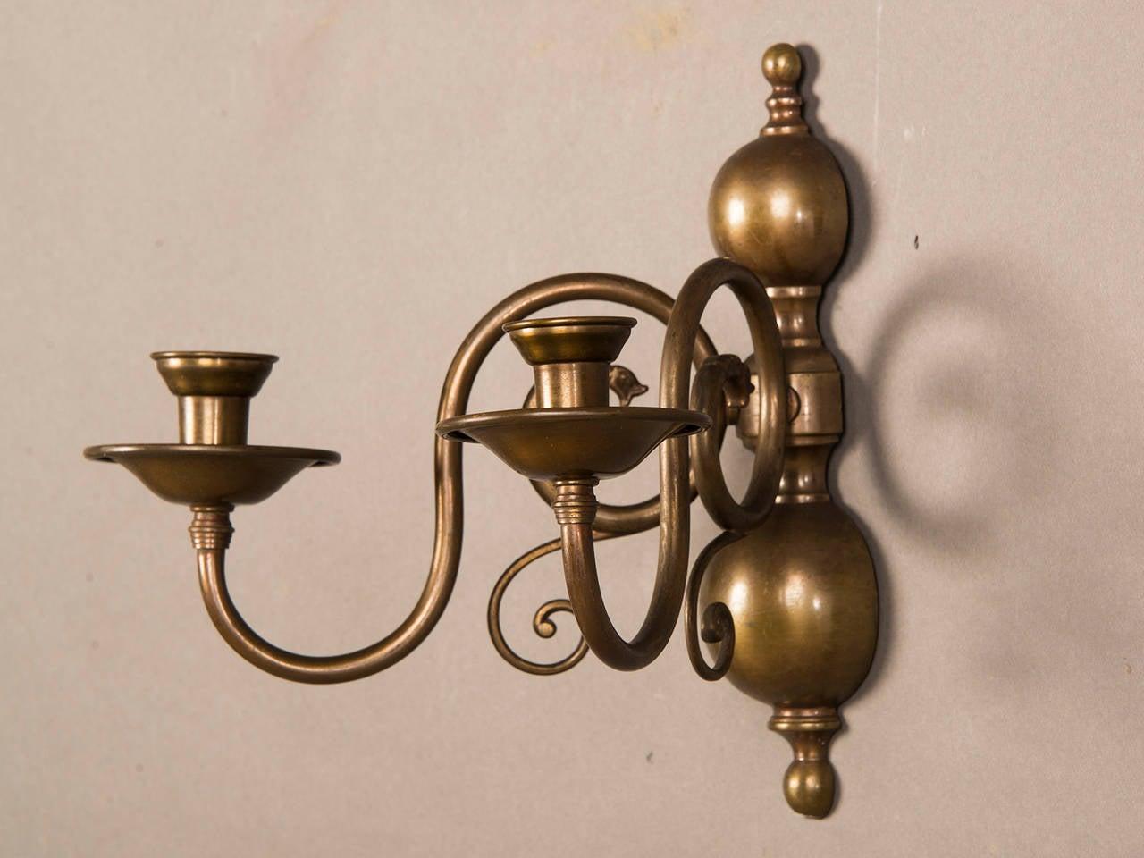 Pair of Two Antique Dutch Arm Bronze Sconces circa 1920 For Sale 2