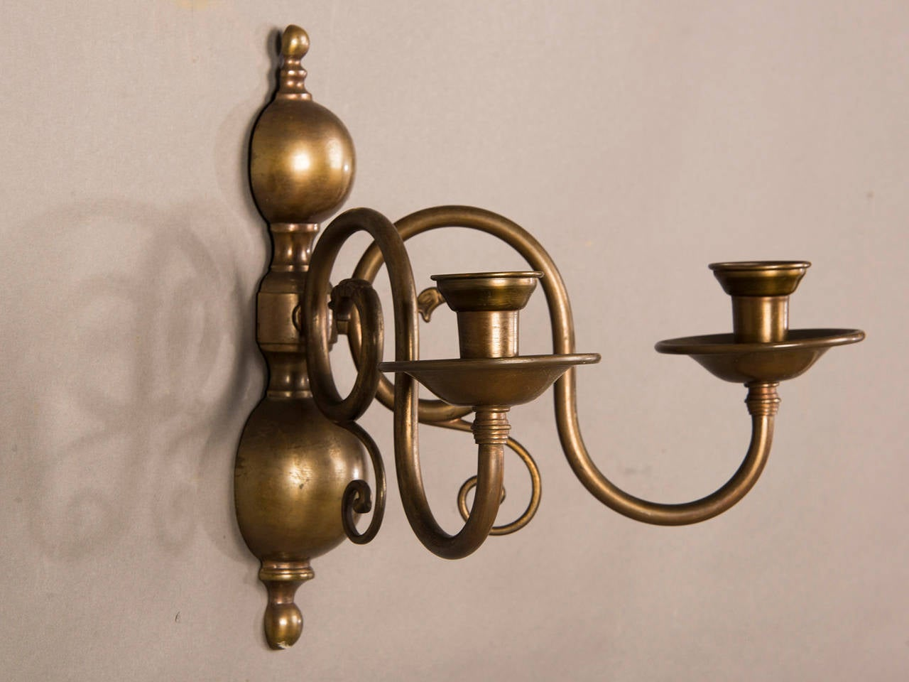 Early 20th Century Pair of Two Antique Dutch Arm Bronze Sconces circa 1920 For Sale
