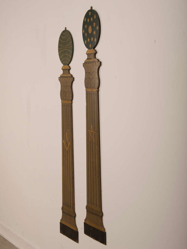 Pair Of Masonic Order Plaques Shaped Like Classical