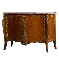 Vintage French Transitional LXV/LXVI Vintage Walnut Buffet Marble Top circa 1940