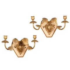 Pair of Art Moderne Period Bronze Dore Two Arm Sconces France circa 1940
