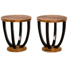 A Pair Of Art Deco Period Burl Ashwoos Side Tables From France C.1930