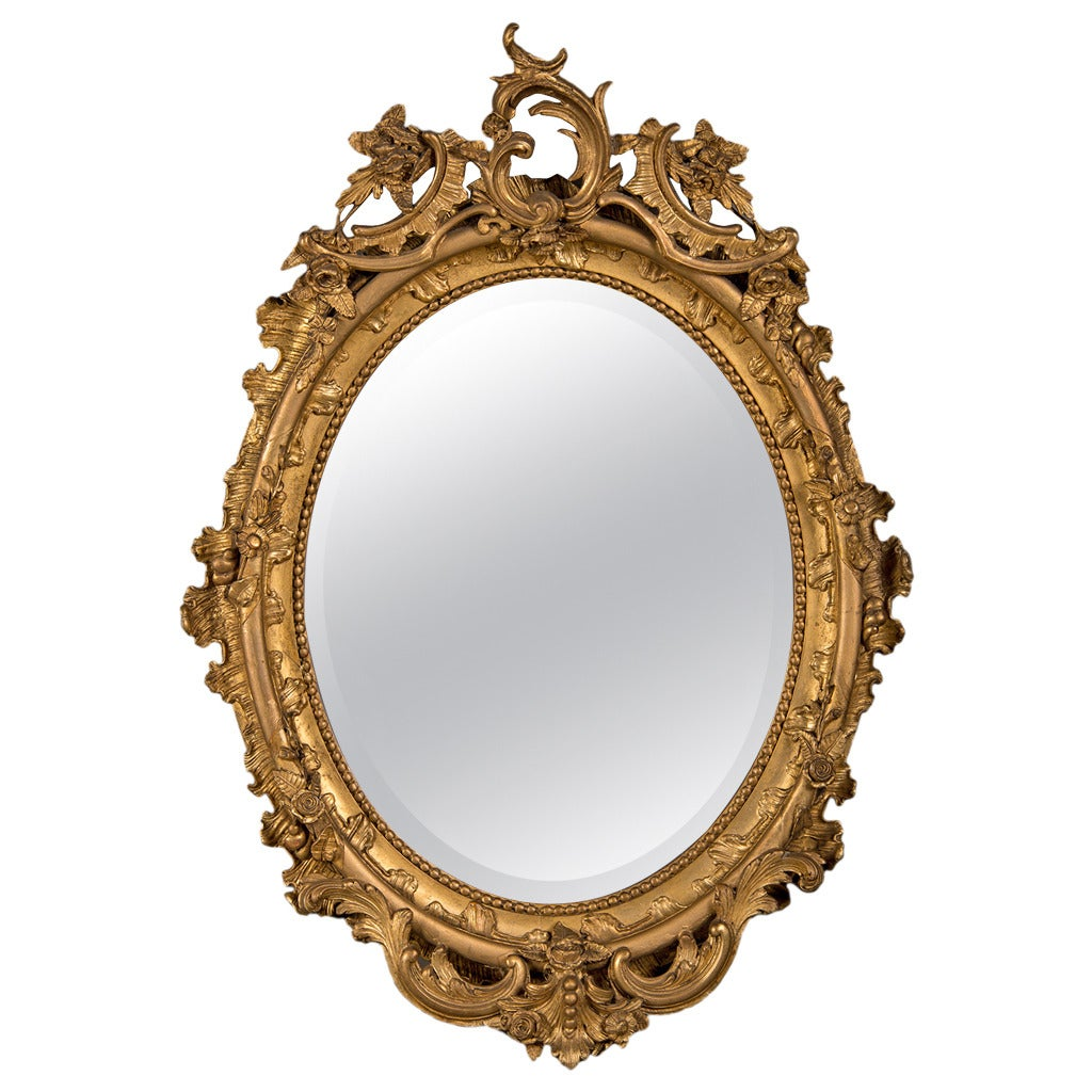 Gilded oval frame mirror from belle epoque period france for Fancy oval mirror