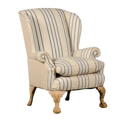 Chippendale Style Carved Pale Mahogany Antique English Wing Chair, circa 1880