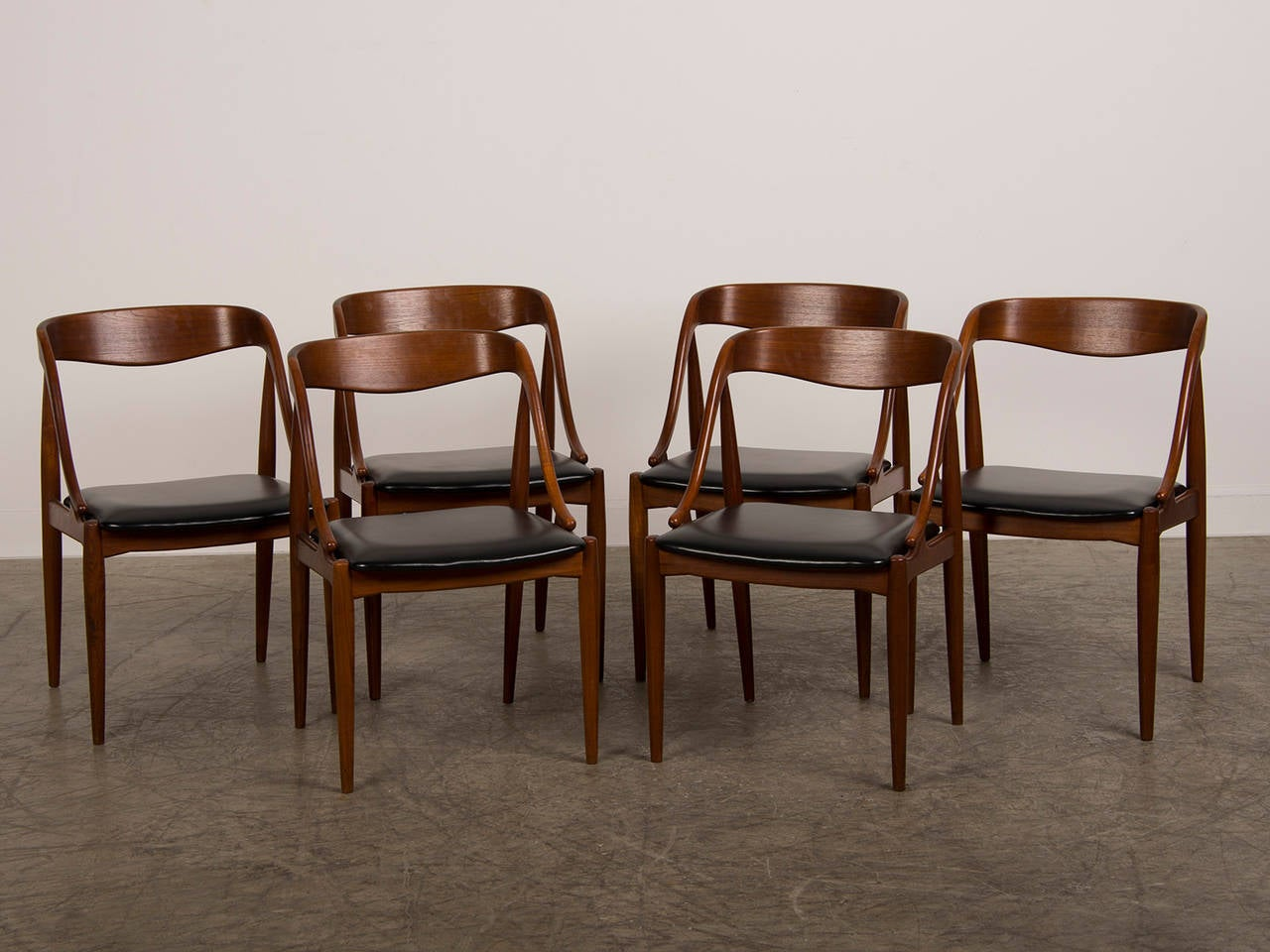 Set Six Teak Armchairs With Leather Seats By Sborg