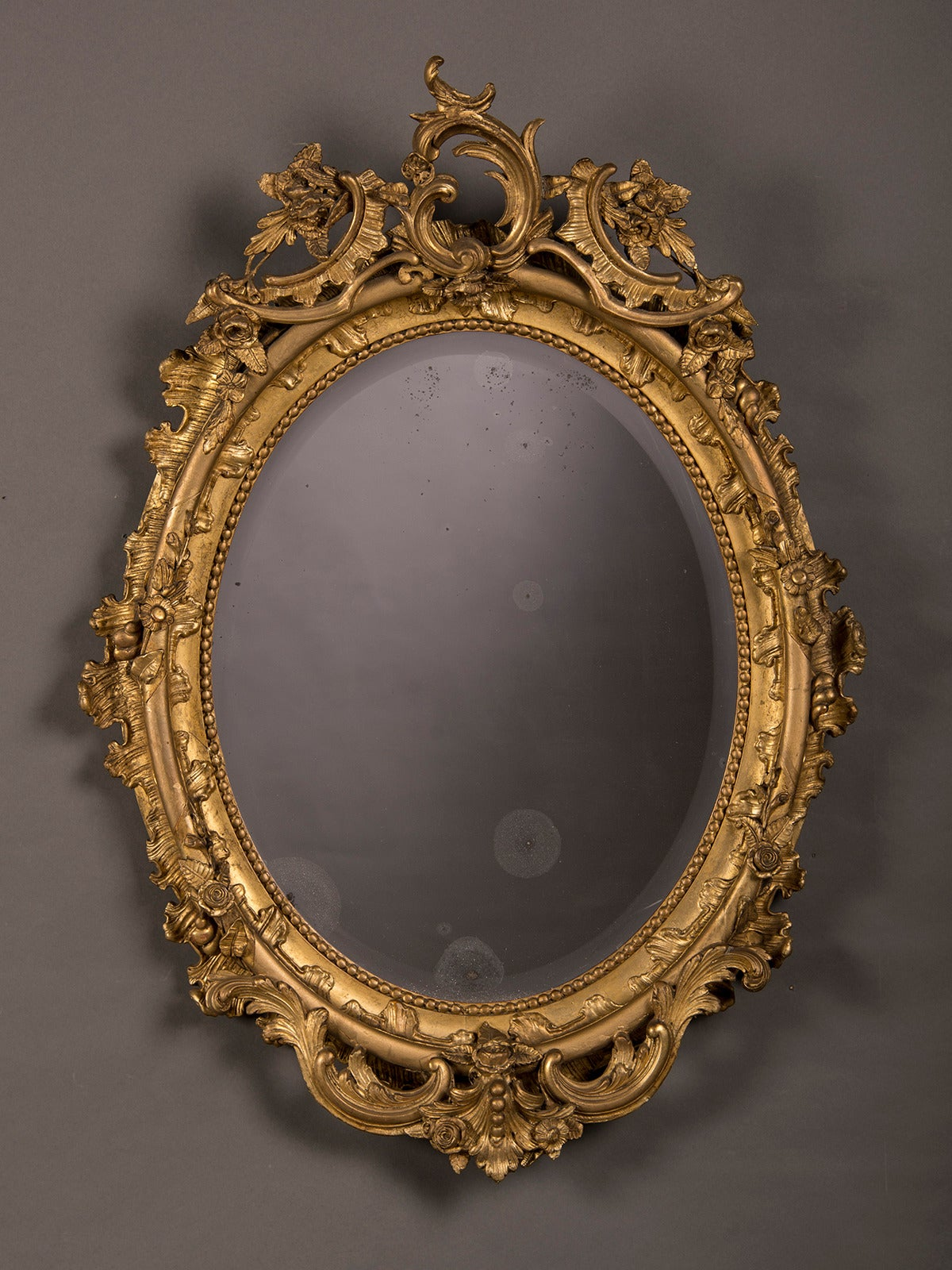 Gilded Oval Mirror From Belle Epoque Period France Circa