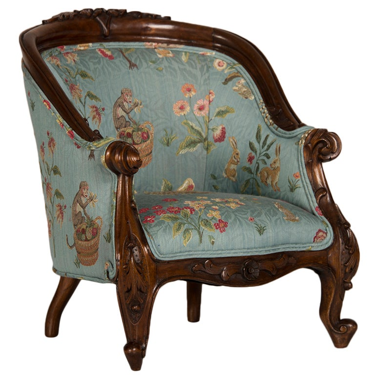 A Louis XV Style Walnut Bergere Child's Chair from France ca. 1895 1