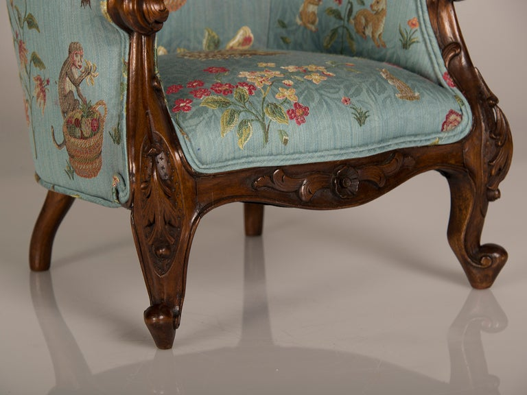 A Louis XV Style Walnut Bergere Child's Chair from France ca. 1895 2
