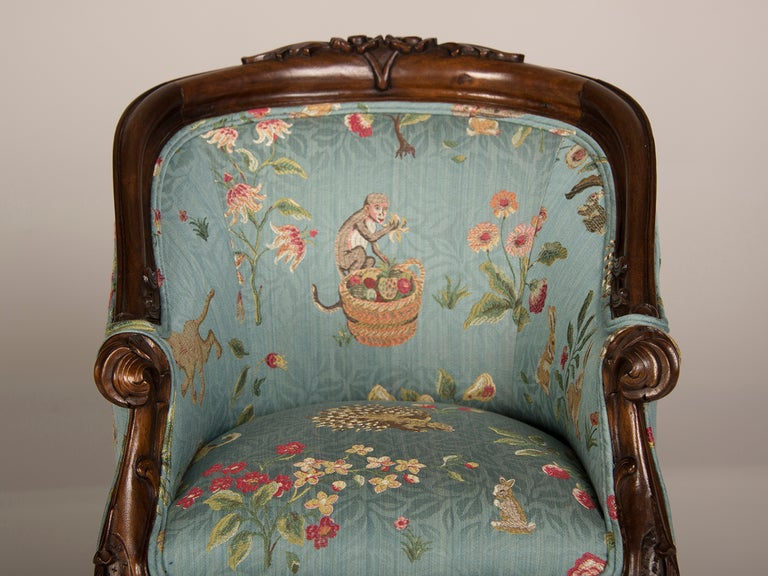 A Louis XV Style Walnut Bergere Child's Chair from France ca. 1895 4
