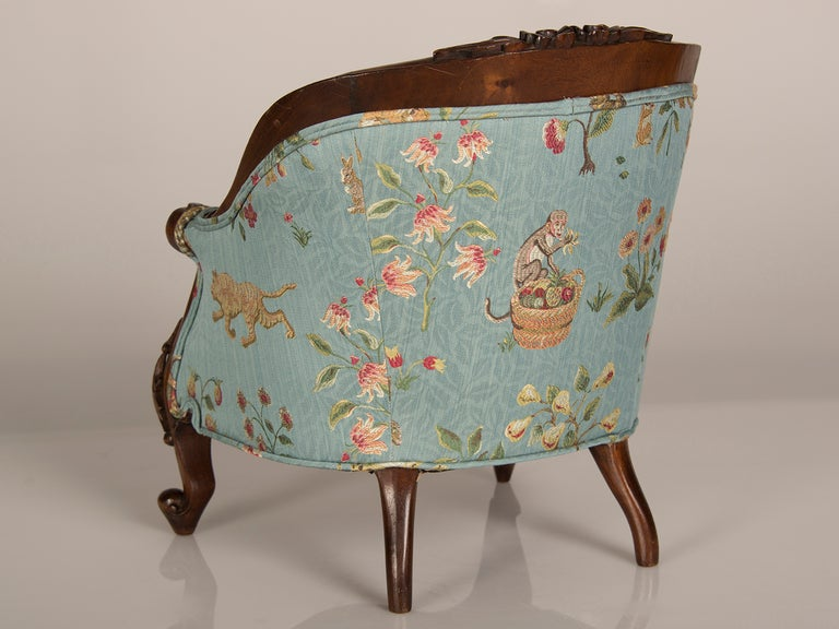 A Louis XV Style Walnut Bergere Child's Chair from France ca. 1895 6