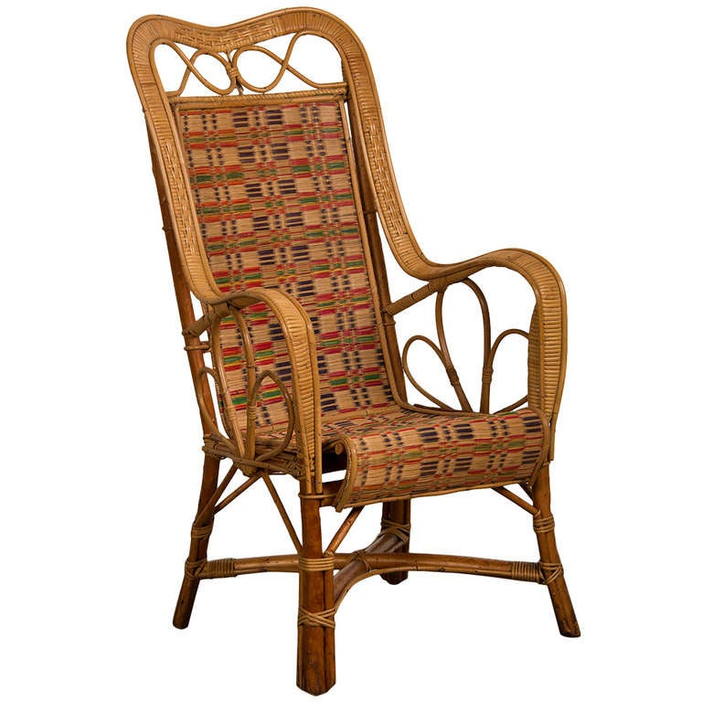 Vintage woven rattan armchair, France c.1920 at 1stdibs
