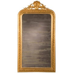 "Louis Philippe Gold Leaf Mirror with Cartouche, France circa 1885 (33""w x 61""h)"