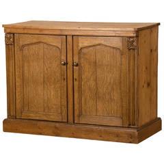 Antique Irish Gothic Revival Oak and Pine Buffet Cabinet circa 1880