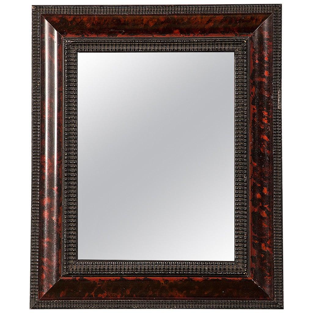 "Dutch Style Faux Tortoise Shell Mirror, Holland circa 1865 (12""w x 14 1/4""h)"