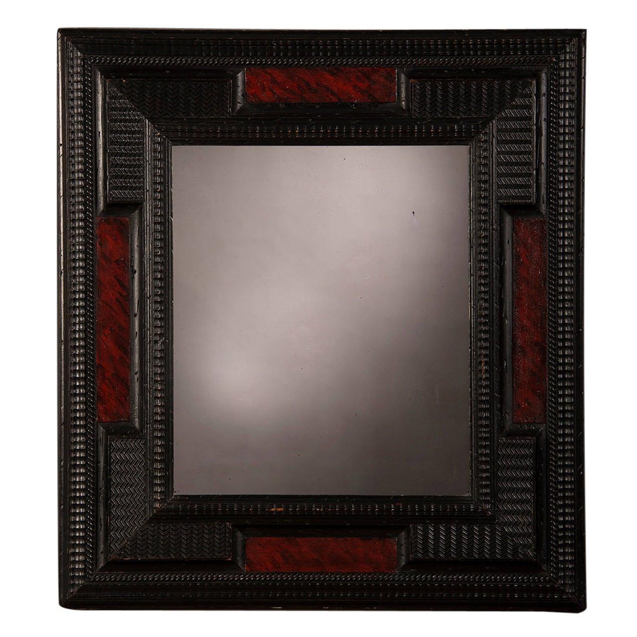 "Dutch Style Faux Tortoise Shell Mirror, Holland circa 1860 (26 1/2""w x 29""h)"