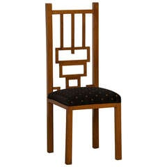 German Cubism Cherrywood Tall Back Chair, circa 1900