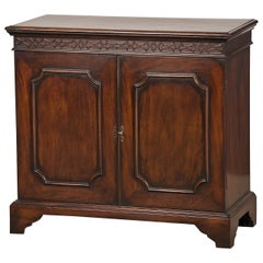 Antique English George III Style Mahogany Cabinet Blind Fret Carving, circa 1875