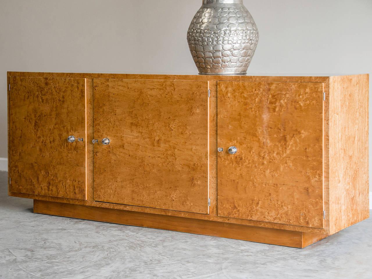 Mid Century Karelian Birchwood Buffet Cabinet Circa 1950 Style Of Milo  Baughman 2