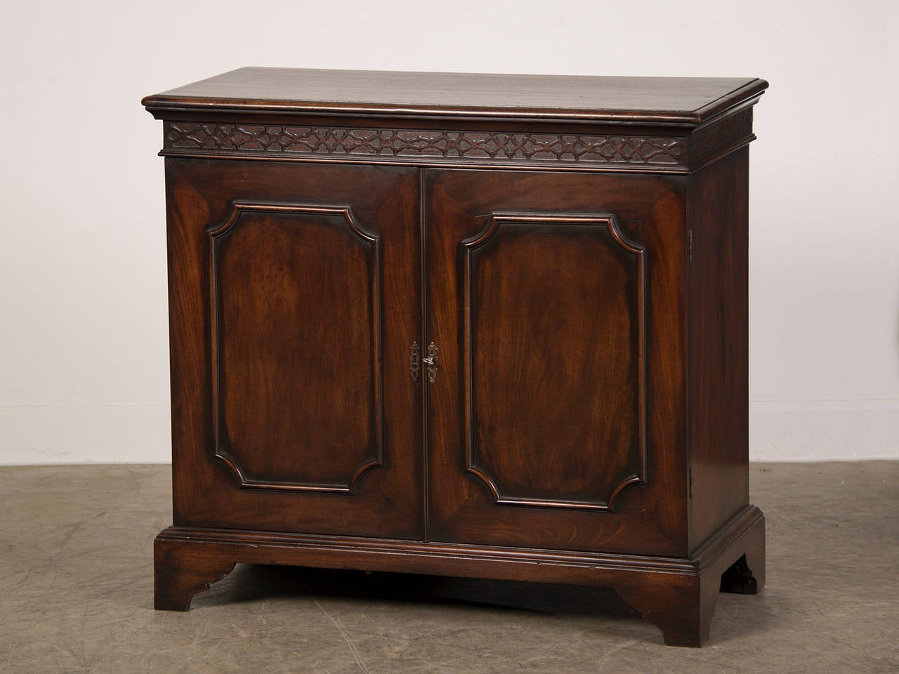 Antique English George III Style Mahogany Cabinet, Blind Fret Carving Circa  1875 2 Awesome Design