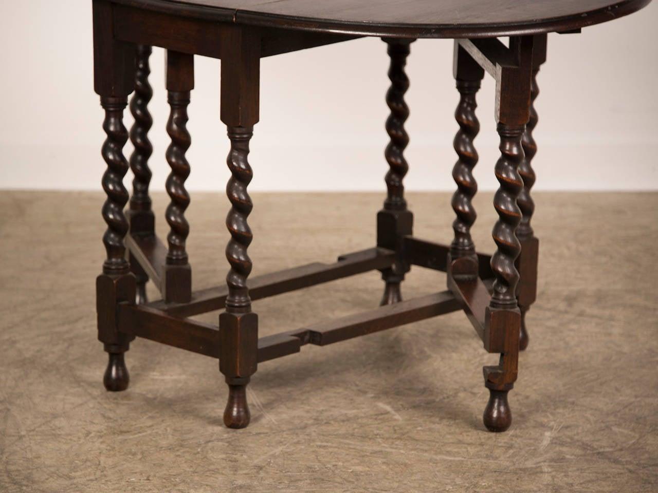 oval oak dropleaf table with barley twist legs  england