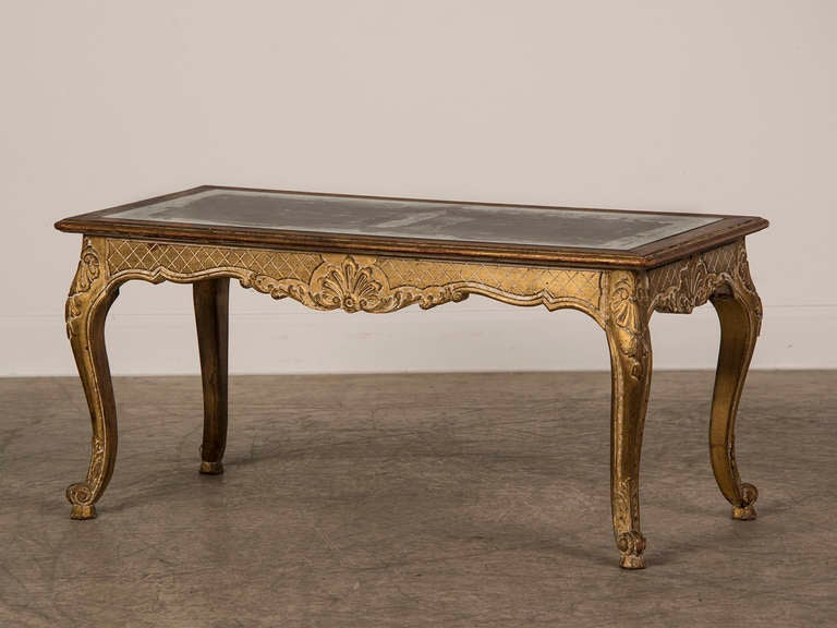 Louis XV Style Gilded Coffee Table with Verre Eglomise Top, France c.1900 2