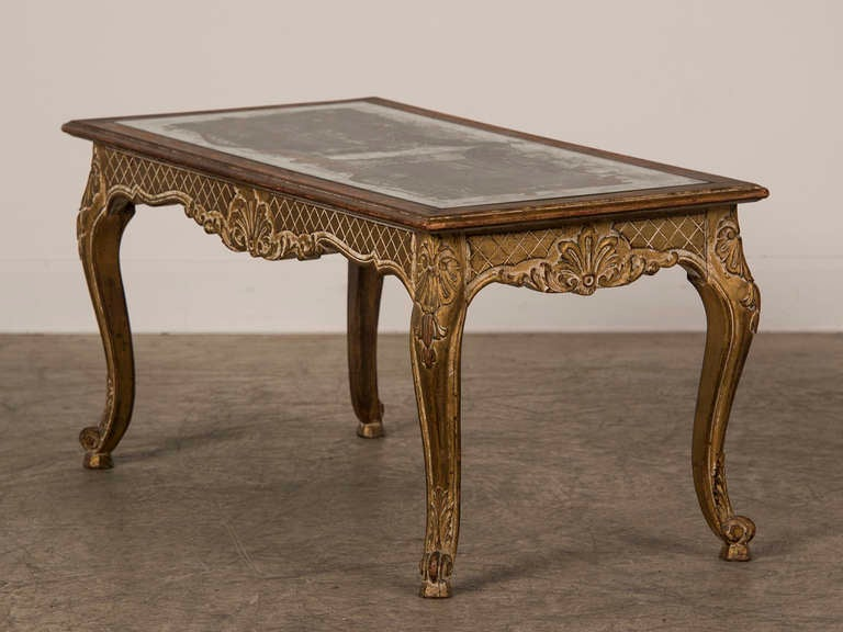 Louis XV Style Gilded Coffee Table with Verre Eglomise Top, France c.1900 3