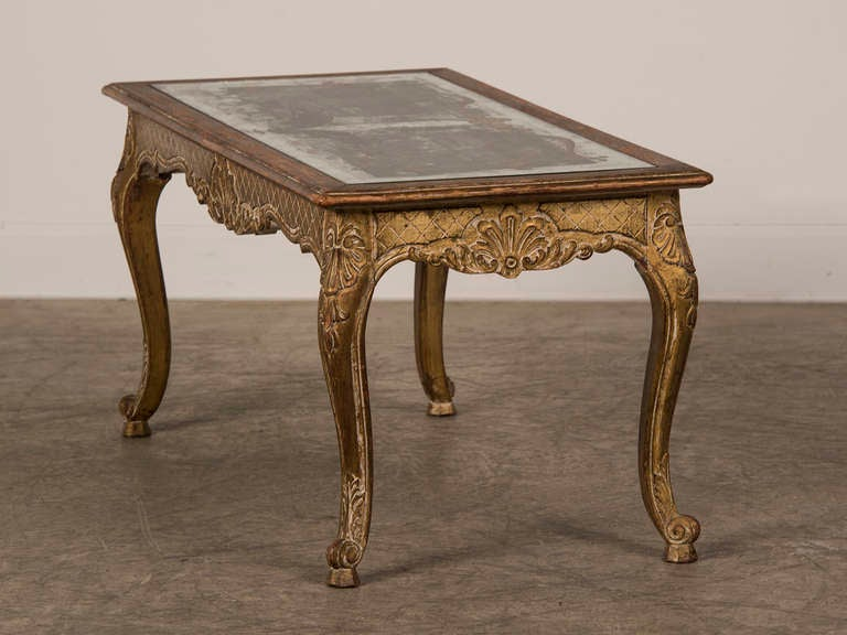 Louis XV Style Gilded Coffee Table with Verre Eglomise Top, France c.1900 5