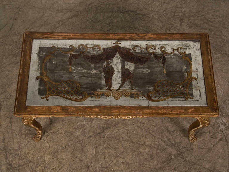 Louis XV Style Gilded Coffee Table with Verre Eglomise Top, France c.1900 6