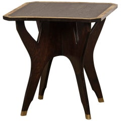 Brass Edged Octagonal Antique French Oak Table with Four Legs, circa 1900