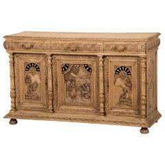Antique French Henri II Style Carved, Weathered Oak Buffet, Brittany circa 1875