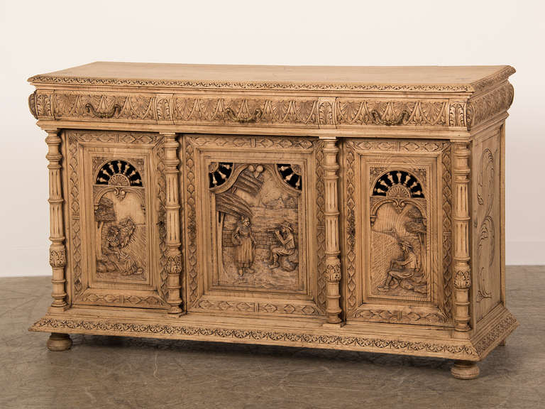 Antique French Henri II Style Carved, Weathered Oak Buffet, Brittany ...